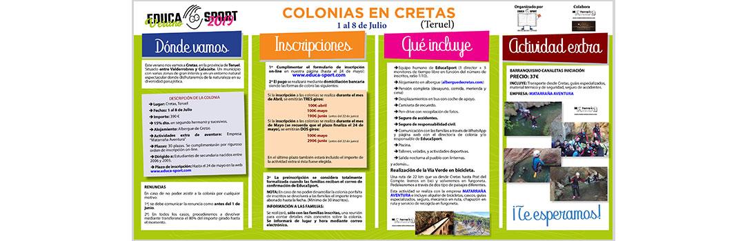 COLONIA DE VERANO EN CRETAS - EDUCA SPORT 2019