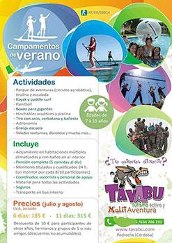 CAMPAMENTOS DE VERANO 2018 TAVABU